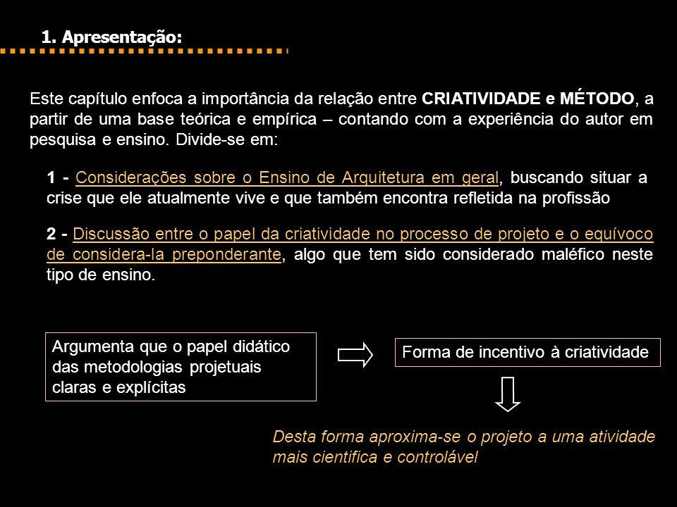 1. Apresentação: Este capítulo enfoca a importância da relação entre CRIATIVIDADE e MÉTODO, a partir de uma base teórica e empírica – contando com a e