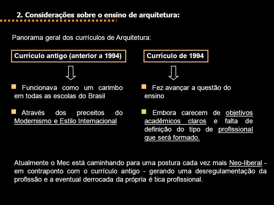 2. Considerações sobre o ensino de arquitetura: Panorama geral dos currículos de Arquitetura: Atualmente o Mec está caminhando para uma postura cada v