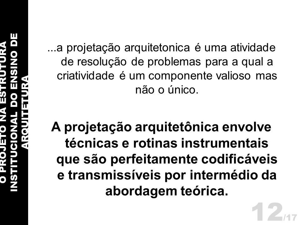 O PROJETO NA ESTRUTURA INSTITUCIONAL DO ENSINO DE ARQUITETURA 12 /17...a projetação arquitetonica é uma atividade de resolução de problemas para a qua