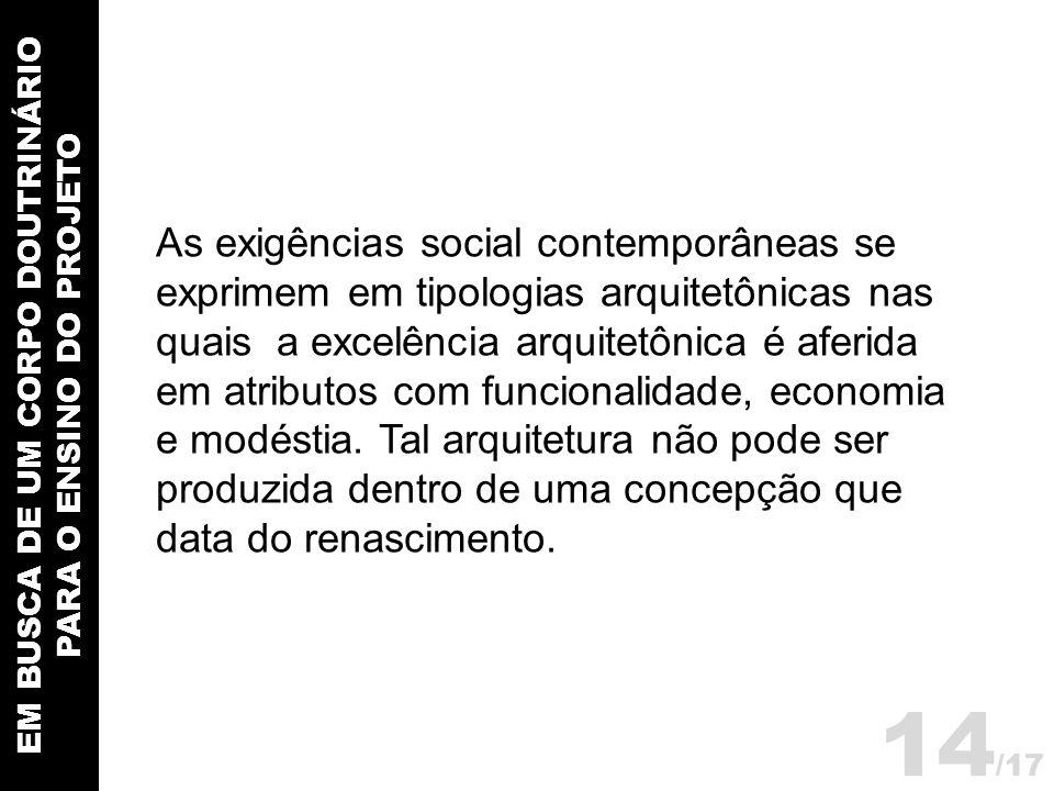 EM BUSCA DE UM CORPO DOUTRINÁRIO PARA O ENSINO DO PROJETO As exigências social contemporâneas se exprimem em tipologias arquitetônicas nas quais a exc