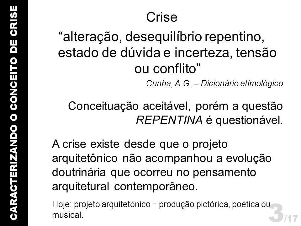 CARACTERIZANDO O CONCEITO DE CRISE Crise alteração, desequilíbrio repentino, estado de dúvida e incerteza, tensão ou conflito Cunha, A.G. – Dicionário