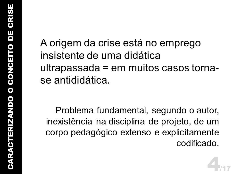 CARACTERIZANDO O CONCEITO DE CRISE A origem da crise está no emprego insistente de uma didática ultrapassada = em muitos casos torna- se antididática.