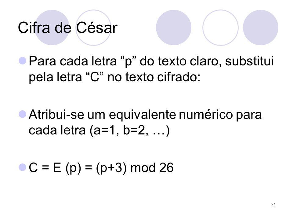 Cifra de César Para cada letra p do texto claro, substitui pela letra C no texto cifrado: Atribui-se um equivalente numérico para cada letra (a=1, b=2