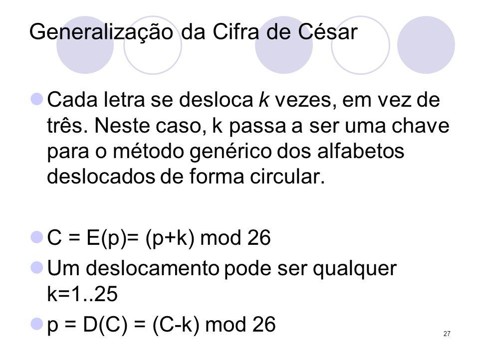 Generalização da Cifra de César Cada letra se desloca k vezes, em vez de três. Neste caso, k passa a ser uma chave para o método genérico dos alfabeto