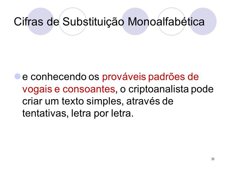 Cifras de Substituição Monoalfabética e conhecendo os prováveis padrões de vogais e consoantes, o criptoanalista pode criar um texto simples, através