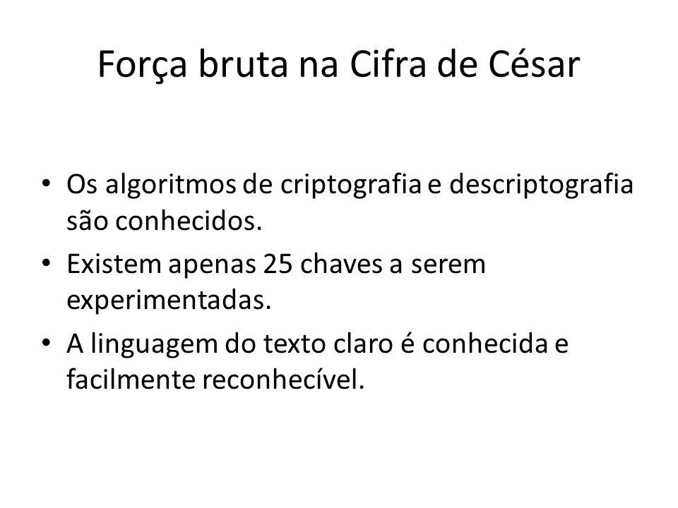 Força bruta na Cifra de César Os algoritmos de criptografia e descriptografia são conhecidos. Existem apenas 25 chaves a serem experimentadas. A lingu