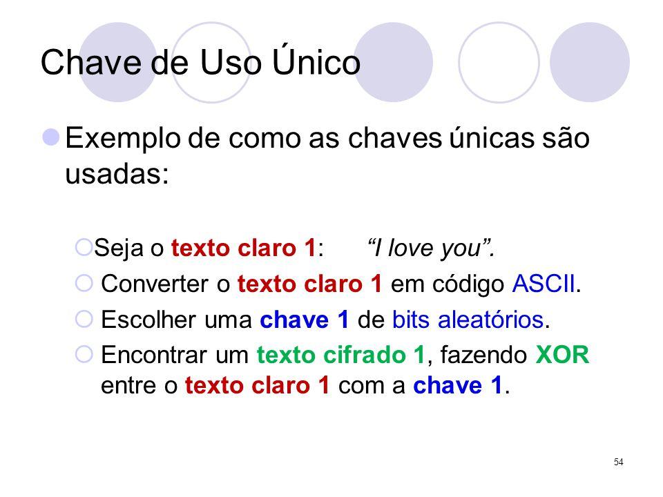 Chave de Uso Único Exemplo de como as chaves únicas são usadas: Seja o texto claro 1: I love you. Converter o texto claro 1 em código ASCII. Escolher