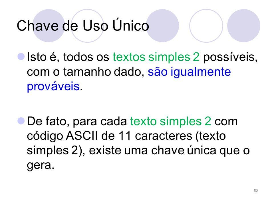Chave de Uso Único Isto é, todos os textos simples 2 possíveis, com o tamanho dado, são igualmente prováveis. De fato, para cada texto simples 2 com c
