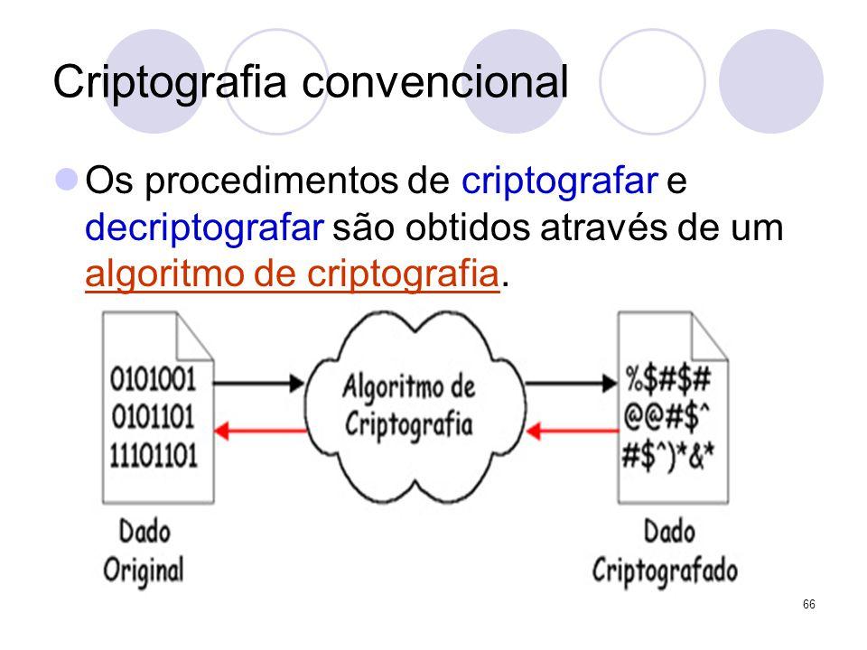 Criptografia convencional Os procedimentos de criptografar e decriptografar são obtidos através de um algoritmo de criptografia. 66