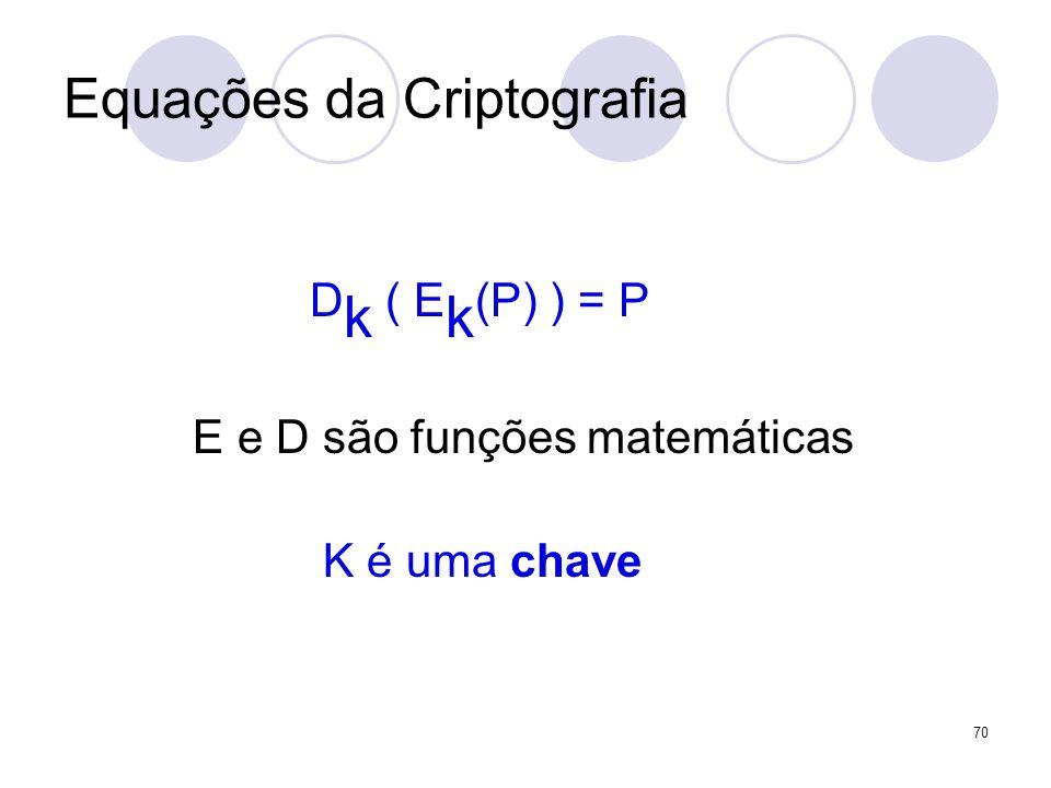 Equações da Criptografia D k ( E k (P) ) = P E e D são funções matemáticas K é uma chave 70