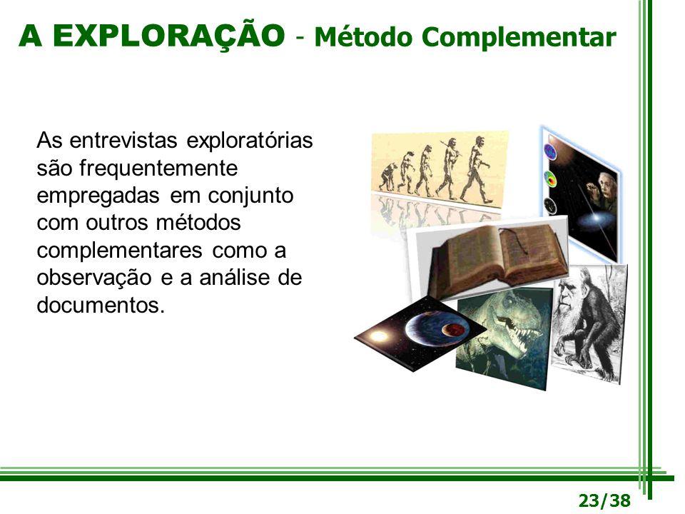A EXPLORAÇÃO - Método Complementar As entrevistas exploratórias são frequentemente empregadas em conjunto com outros métodos complementares como a obs