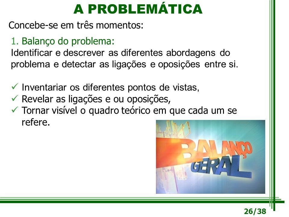 A PROBLEMÁTICA Concebe-se em três momentos: 1.Balanço do problema: Identificar e descrever as diferentes abordagens do problema e detectar as ligações