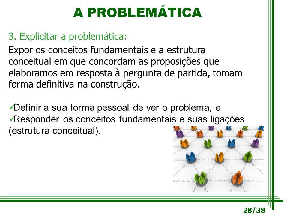 A PROBLEMÁTICA 3. Explicitar a problemática: Expor os conceitos fundamentais e a estrutura conceitual em que concordam as proposições que elaboramos e