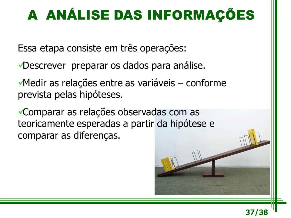 A ANÁLISE DAS INFORMAÇÕES Essa etapa consiste em três operações: Descrever preparar os dados para análise. Medir as relações entre as variáveis – conf