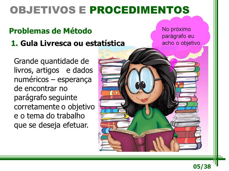 OBJETIVOS E PROCEDIMENTOS Problemas de Método 1.1. Gula Livresca ou estatística Grande quantidade de livros, artigos e dados numéricos – esperança de