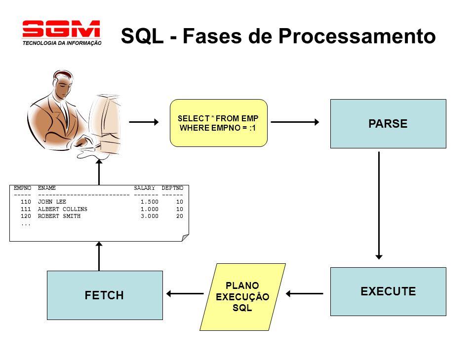 SQL - Fases de Processamento SELECT * FROM EMP WHERE EMPNO = :1 PARSE EXECUTE FETCH PLANO EXECUÇÂO SQL EMPNO ENAME SALARY DEPTNO ----- ---------------