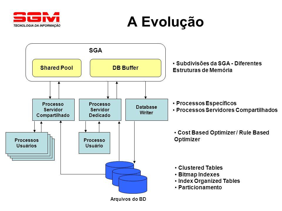A Evolução Processo Usuário SGA Shared Pool Processo Servidor Dedicado Arquivos do BD DB Buffer Subdivisões da SGA - Diferentes Estruturas de Memória