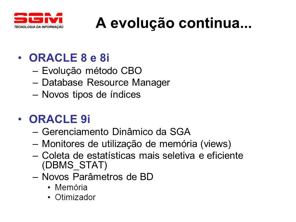 A evolução continua... ORACLE 8 e 8i –Evolução método CBO –Database Resource Manager –Novos tipos de índices ORACLE 9i –Gerenciamento Dinâmico da SGA