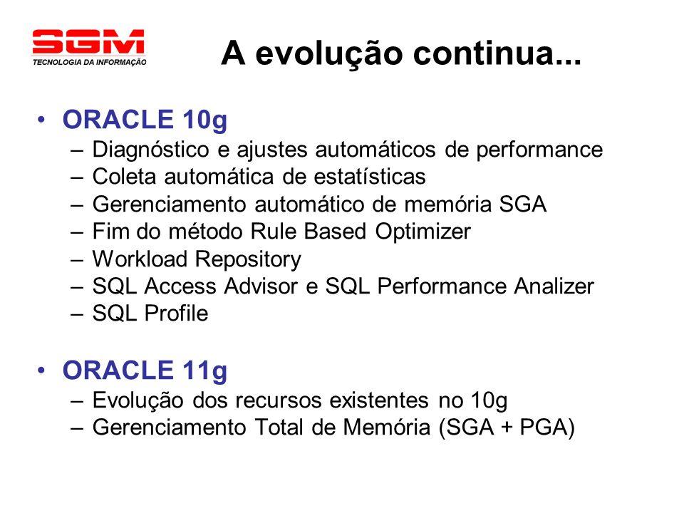 A evolução continua... ORACLE 10g –Diagnóstico e ajustes automáticos de performance –Coleta automática de estatísticas –Gerenciamento automático de me
