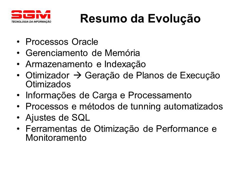Resumo da Evolução Processos Oracle Gerenciamento de Memória Armazenamento e Indexação Otimizador Geração de Planos de Execução Otimizados Informações