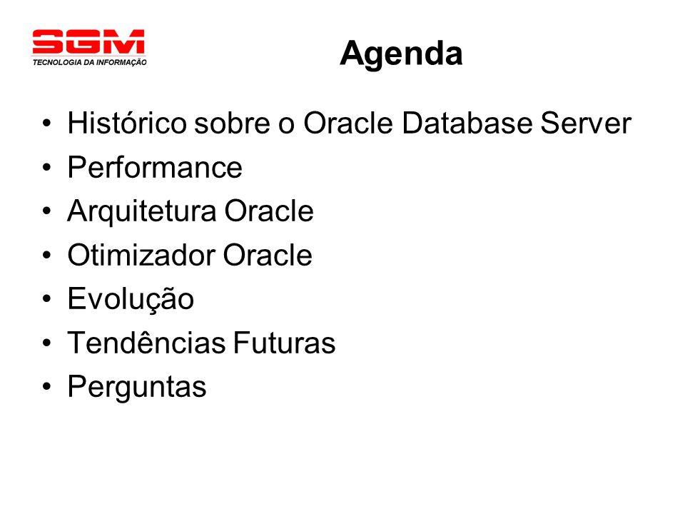 ORACLE - Histórico VersãoAnoCaracterísticas Oracle 11978Não foi lançado oficialmente Escrito em Assembly Oracle 219791º SGBDR Comercial Oracle 31983Portabilidade Escrito em C Oracle 41984Leitura Consistente Oracle 51985Cliente/Servidor Oracle 61988Row-level locking Hot backup PL/SQL