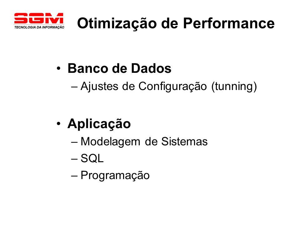 Otimização de Performance Banco de Dados –Ajustes de Configuração (tunning) Aplicação –Modelagem de Sistemas –SQL –Programação