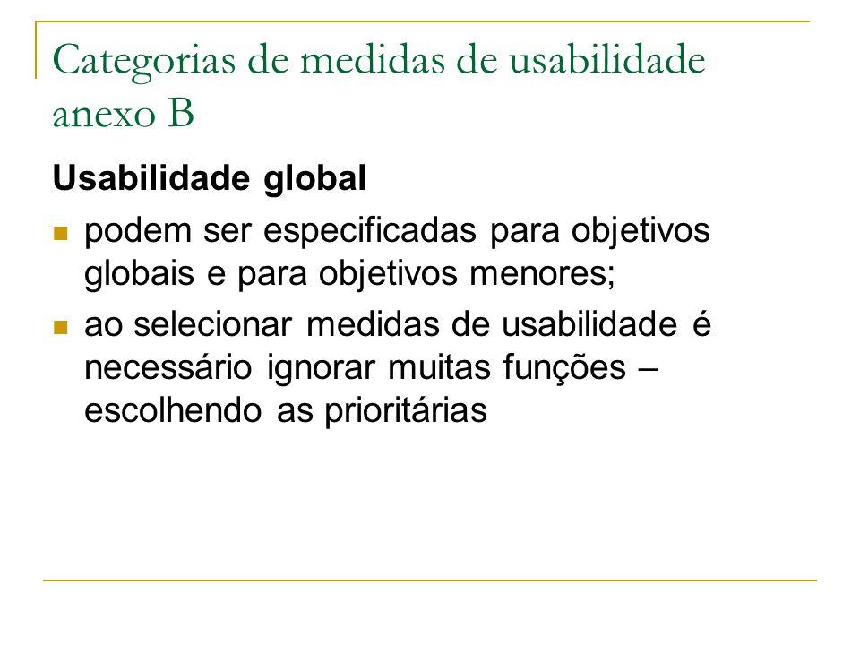 Categorias de medidas de usabilidade anexo B Usabilidade global podem ser especificadas para objetivos globais e para objetivos menores; ao selecionar medidas de usabilidade é necessário ignorar muitas funções – escolhendo as prioritárias
