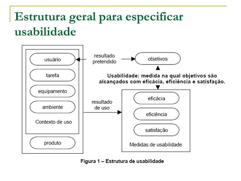 Especificando Objetivos de Usabilidade Maiores, Menores( sub-objetivos ), e Secundários
