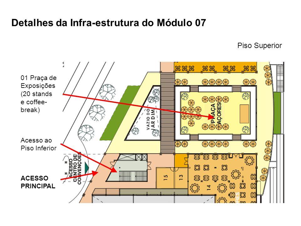 Piso Superior Detalhes da Infra-estrutura do Módulo 07 01 Praça de Exposições (20 stands e coffee- break) ACESSO PRINCIPAL Acesso ao Piso Inferior