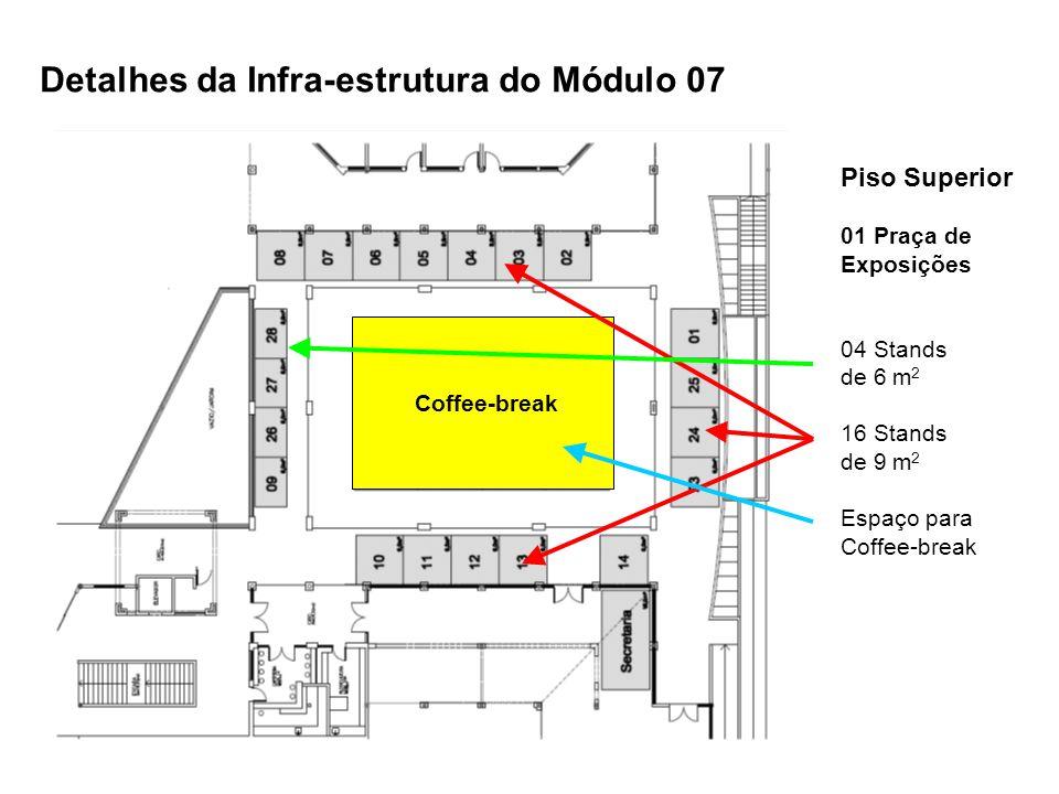 Piso Superior 01 Praça de Exposições 04 Stands de 6 m 2 16 Stands de 9 m 2 Espaço para Coffee-break Detalhes da Infra-estrutura do Módulo 07 Coffee-br
