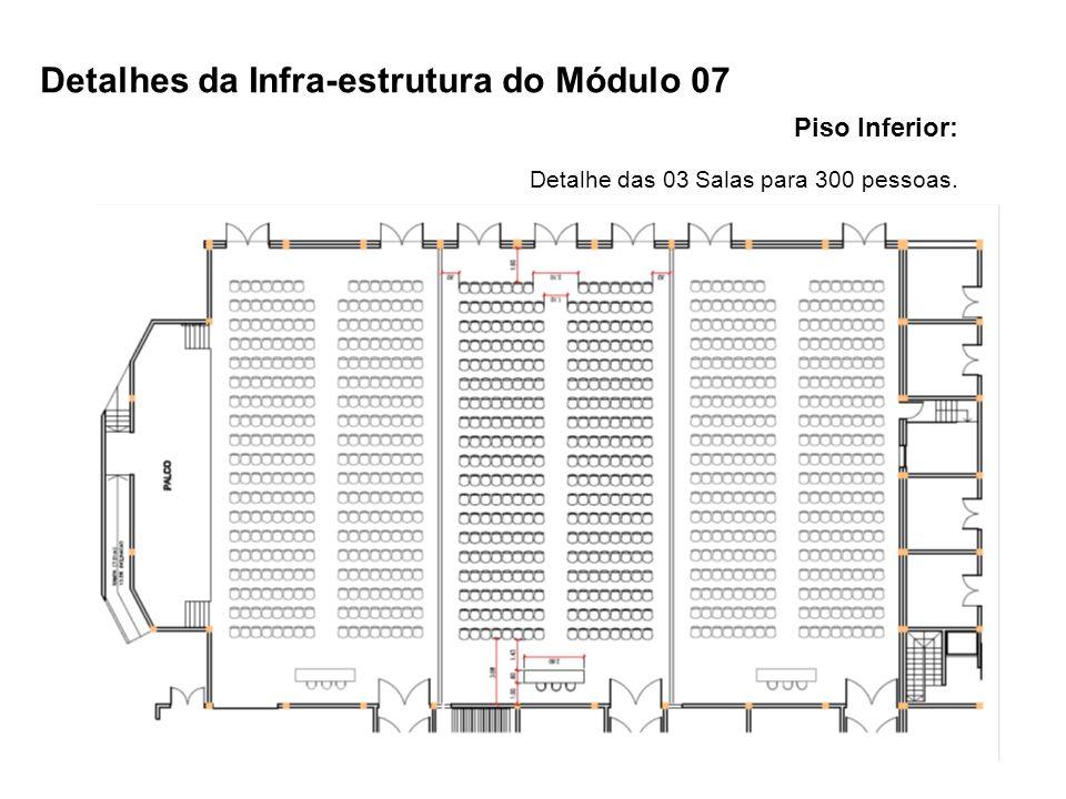 Piso Inferior: Detalhe das 03 Salas para 300 pessoas. Detalhes da Infra-estrutura do Módulo 07