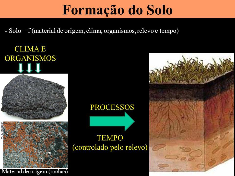 Formação do Solo - Solo = f (material de origem, clima, organismos, relevo e tempo) Material de origem (rochas) PROCESSOS TEMPO (controlado pelo relevo) CLIMA E ORGANISMOS