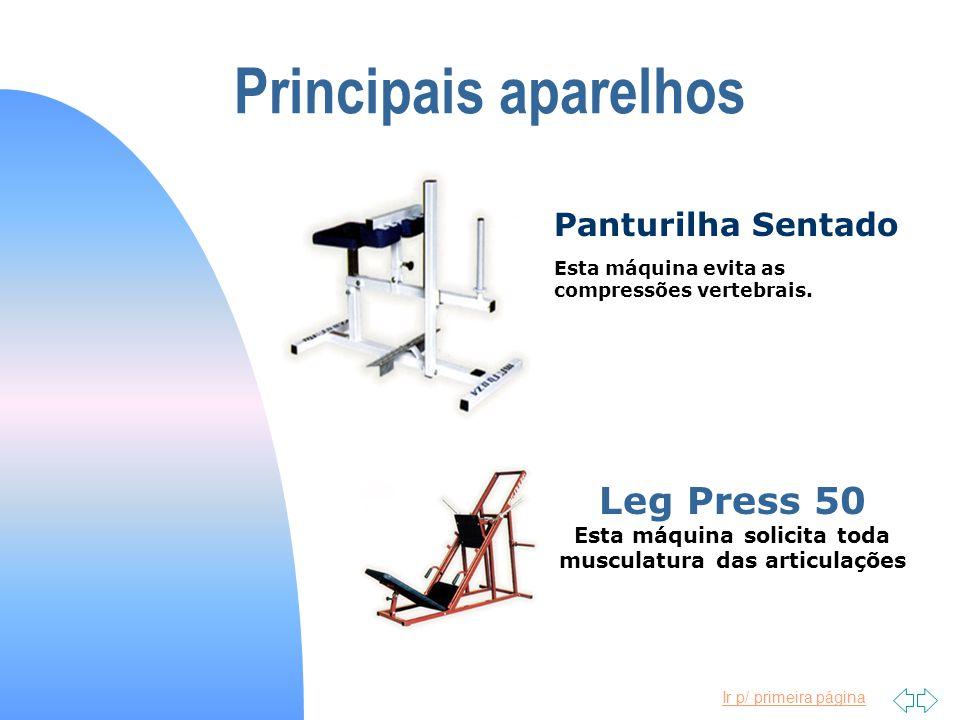 Ir p/ primeira página Principais aparelhos Esta máquina evita as compressões vertebrais. Panturilha Sentado Leg Press 50 Esta máquina solicita toda mu