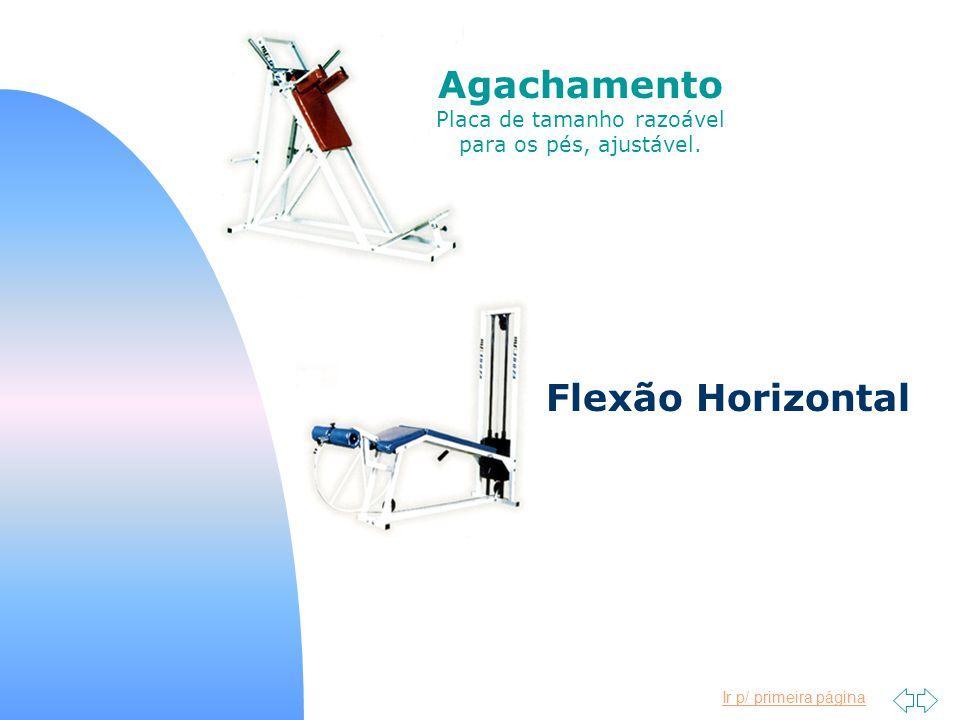 Ir p/ primeira página Agachamento Placa de tamanho razoável para os pés, ajustável. Flexão Horizontal