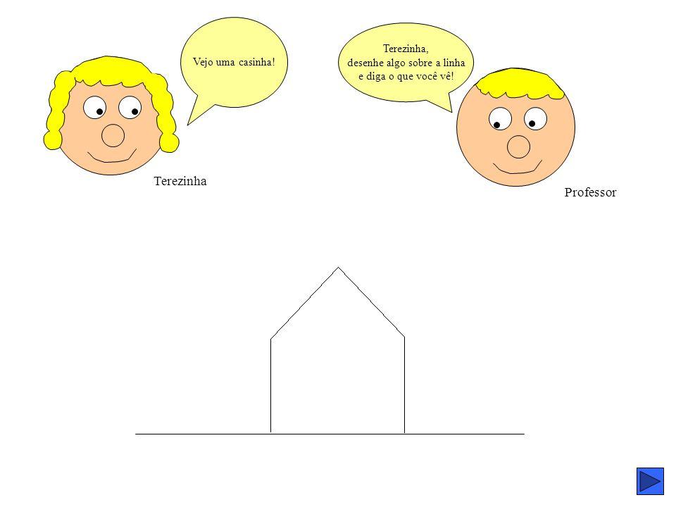 Terezinha Professor Terezinha, desenhe algo sobre a linha e diga o que você vê! Vejo uma casinha!