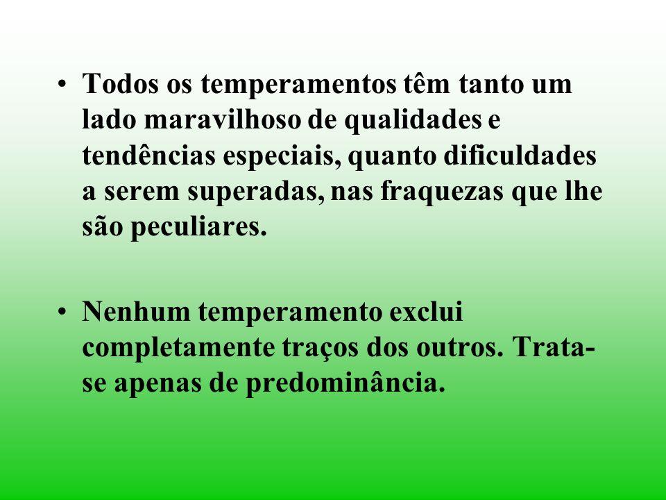 As características do temperamento, controladas ou não, duram por toda a existência.