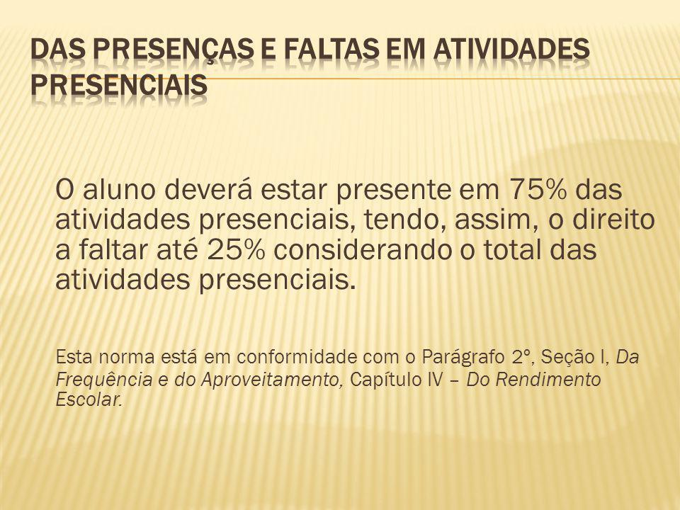 O aluno deverá estar presente em 75% das atividades presenciais, tendo, assim, o direito a faltar até 25% considerando o total das atividades presenci