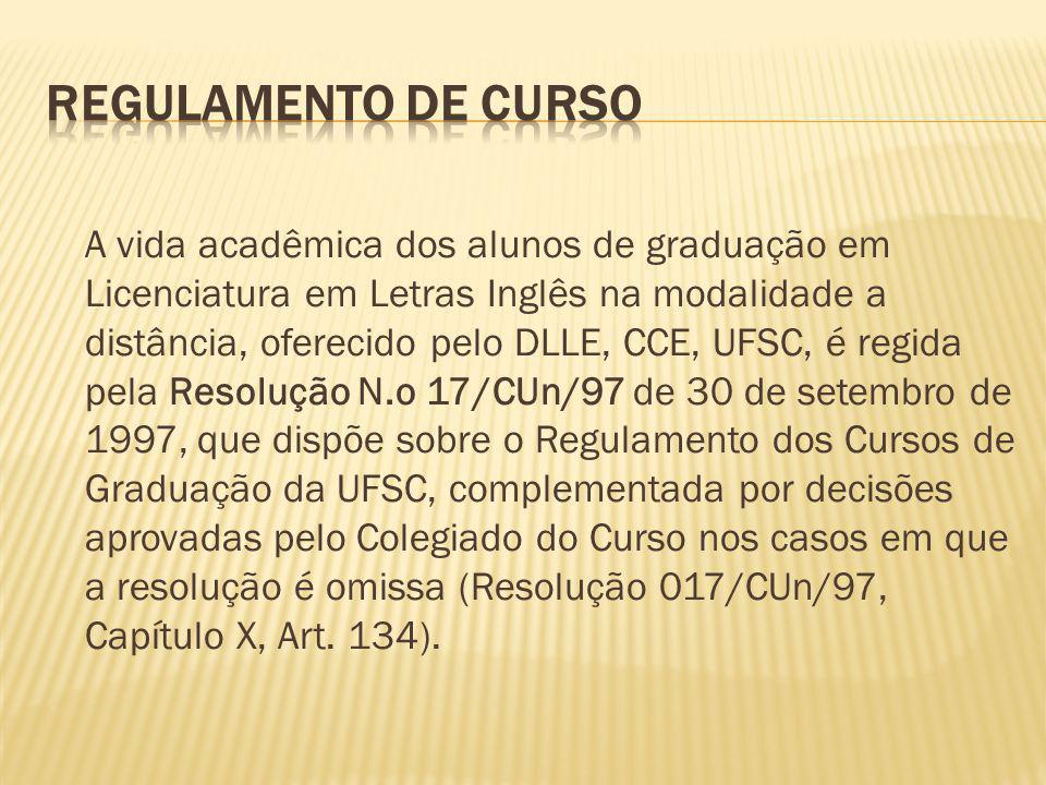 A vida acadêmica dos alunos de graduação em Licenciatura em Letras Inglês na modalidade a distância, oferecido pelo DLLE, CCE, UFSC, é regida pela Res
