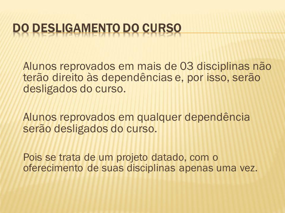 Alunos reprovados em mais de 03 disciplinas não terão direito às dependências e, por isso, serão desligados do curso. Alunos reprovados em qualquer de