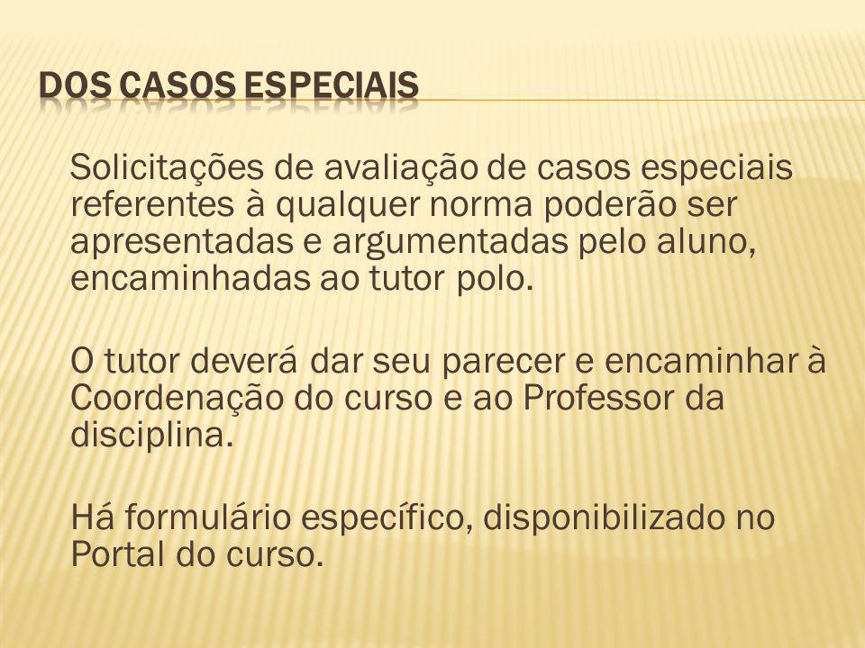 Solicitações de avaliação de casos especiais referentes à qualquer norma poderão ser apresentadas e argumentadas pelo aluno, encaminhadas ao tutor pol