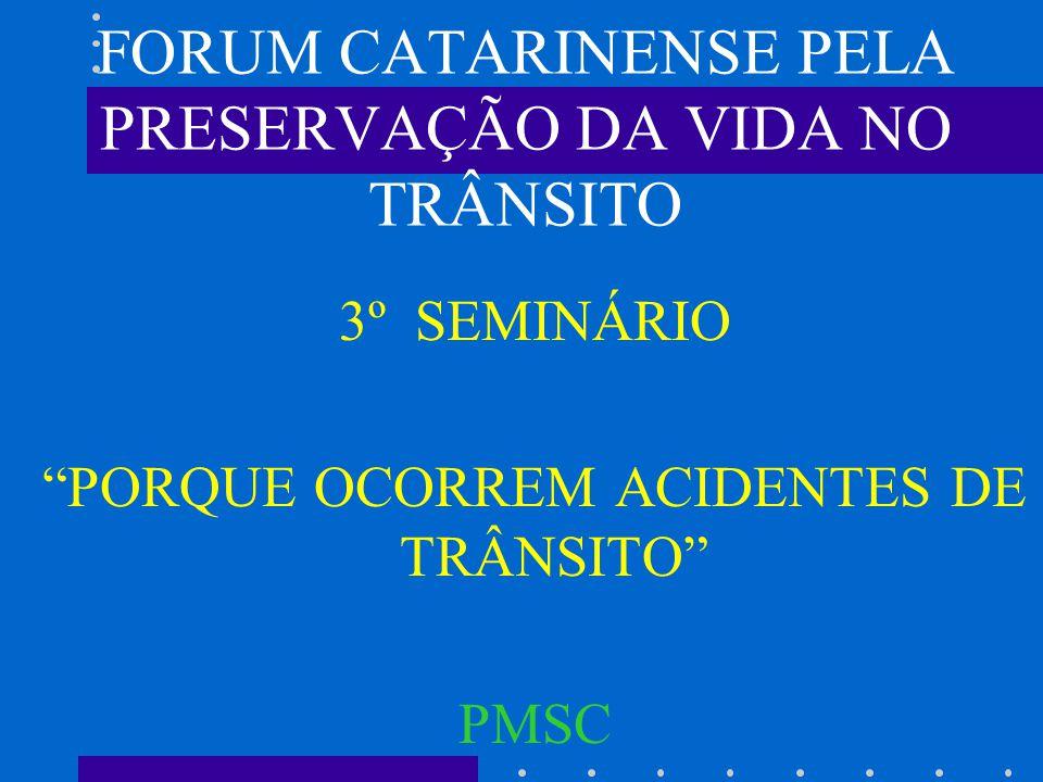 FORUM CATARINENSE PELA PRESERVAÇÃO DA VIDA NO TRÂNSITO 3º SEMINÁRIO PORQUE OCORREM ACIDENTES DE TRÂNSITO PMSC