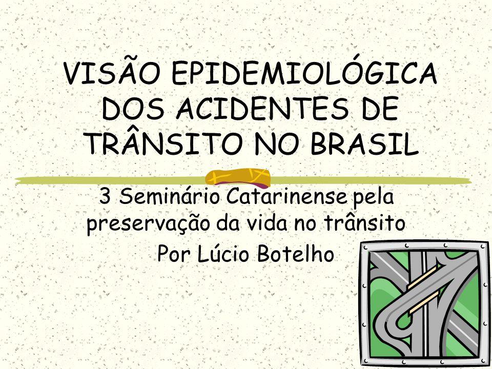 VISÃO EPIDEMIOLÓGICA DOS ACIDENTES DE TRÂNSITO NO BRASIL 3 Seminário Catarinense pela preservação da vida no trânsito Por Lúcio Botelho