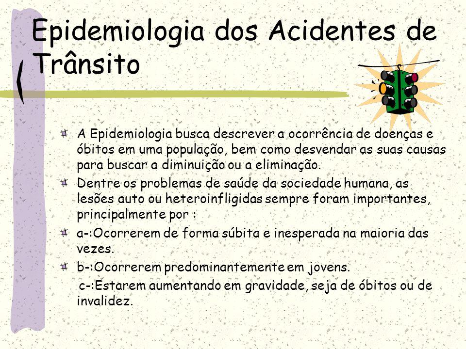 Epidemiologia dos Acidentes de Trânsito A Epidemiologia busca descrever a ocorrência de doenças e óbitos em uma população, bem como desvendar as suas