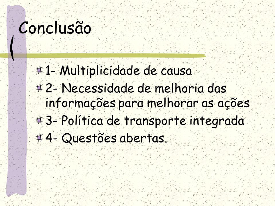 Conclusão 1- Multiplicidade de causa 2- Necessidade de melhoria das informações para melhorar as ações 3- Política de transporte integrada 4- Questões