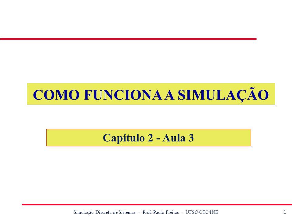 1 Simulação Discreta de Sistemas - Prof. Paulo Freitas - UFSC/CTC/INE COMO FUNCIONA A SIMULAÇÃO Capítulo 2 - Aula 3