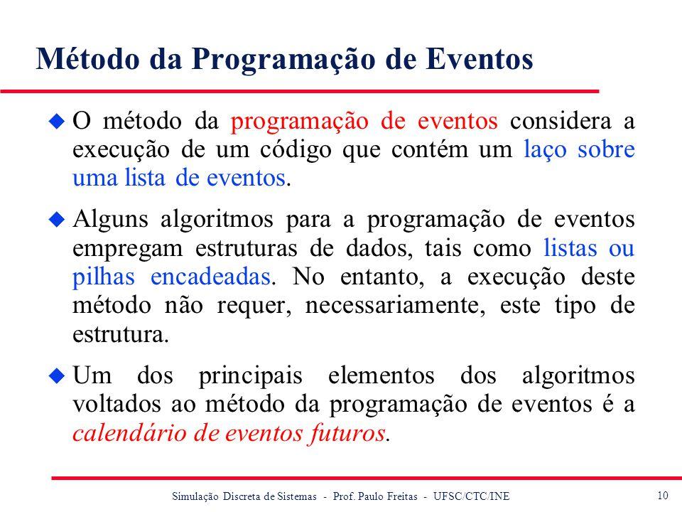 10 Simulação Discreta de Sistemas - Prof. Paulo Freitas - UFSC/CTC/INE Método da Programação de Eventos u O método da programação de eventos considera