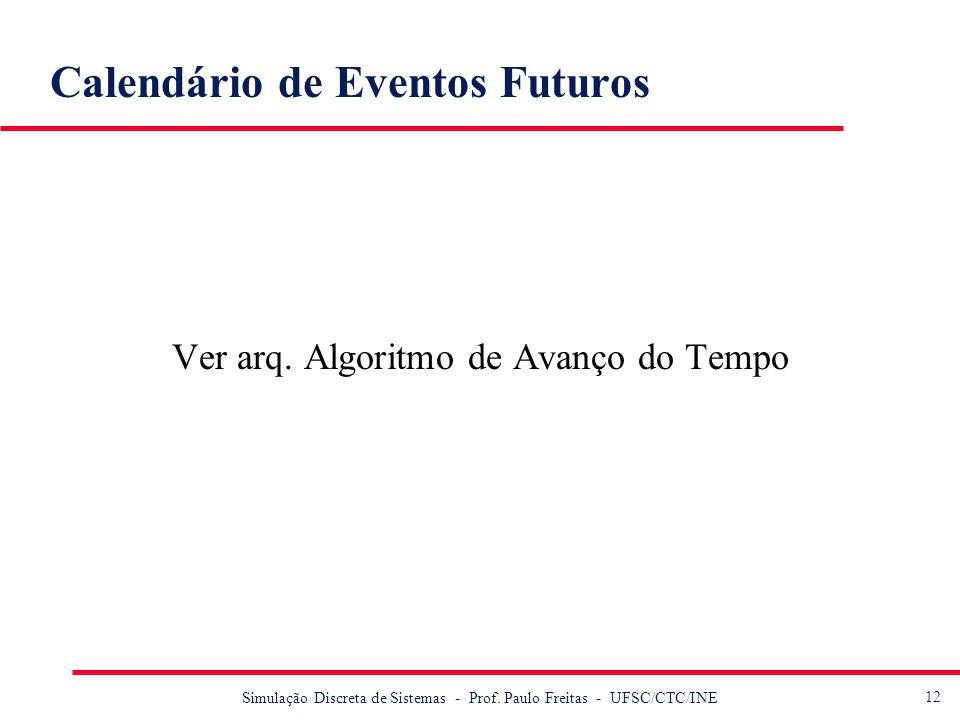 12 Simulação Discreta de Sistemas - Prof. Paulo Freitas - UFSC/CTC/INE Calendário de Eventos Futuros Ver arq. Algoritmo de Avanço do Tempo
