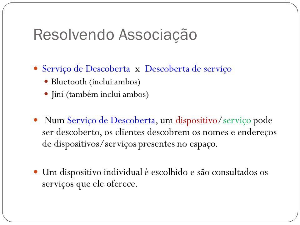 Resolvendo Associação Serviço de Descoberta x Descoberta de serviço Bluetooth (inclui ambos) Jini (também inclui ambos) Num Serviço de Descoberta, um