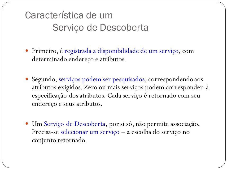 Característica de um Serviço de Descoberta Primeiro, é registrada a disponibilidade de um serviço, com determinado endereço e atributos. Segundo, serv
