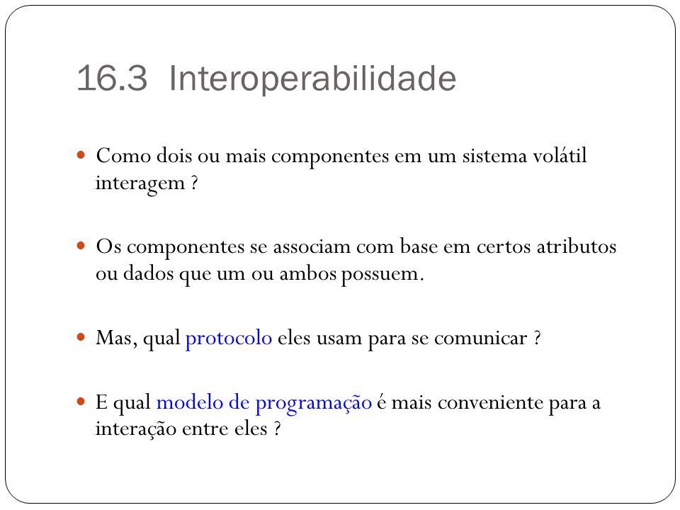 16.3 Interoperabilidade Como dois ou mais componentes em um sistema volátil interagem ? Os componentes se associam com base em certos atributos ou dad